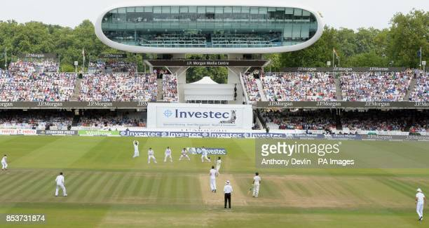 India's Bhuvneshwar Kumar bats during day four of the second test at Lord's Cricket Ground London
