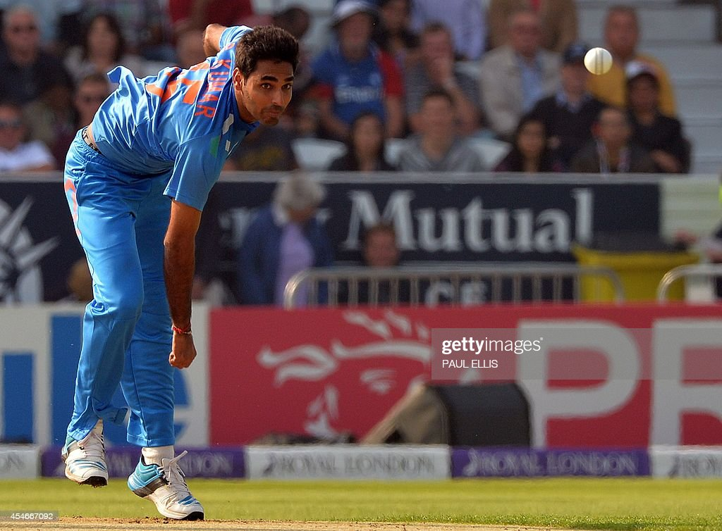 India's Bhuvneshwar Kumar bowls during the fifth one-day international (ODI) cricket match between England and India at Headingley in Leeds, northern England, on September 5, 2014. India captain Mahendra Singh Dhoni won the toss and elected to field against England in the fifth and final one-day international at Headingley on Friday.