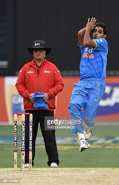 India's Bhuvneshwar Kumar bowls during the oneday international cricket match between Australia and India at the Melbourne Cricket Ground on January...