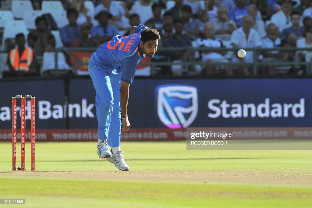 India's Bhuvneshwar Kumar delivers a ball during the One Day International (ODI) cricket match between India and South Africa at Newlands stadium on February 7, 2018 in Cape Town. /