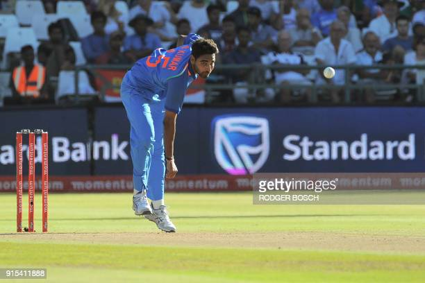 India's Bhuvneshwar Kumar delivers a ball during the One Day International cricket match between India and South Africa at Newlands stadium on...