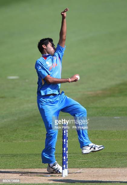 India's Bhuvneshwar Kumar during their warm up game against Australia ahead the ICC Champions Trophy Warm Up Match at the SWALEC Stadium Cardiff