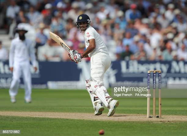 India's Bhuvneshwar Kumar in batting action against England during day two of the first Investec test match at Trent Bridge Nottingham