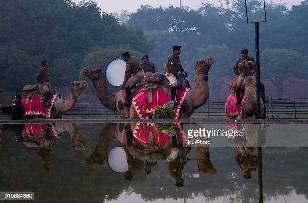 India's Border Security Force Camel Contingent soldiers prepare for the Republic Day parade rehearsals on a winter morning in New Delhi. 13th...