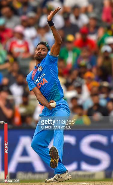India's bowler Hardik Pandya delivers the ball during the first T20I cricket match between South Africa and India at The Wanderers Cricket Stadium in...