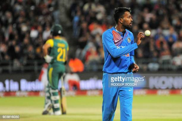 India's bowler Hardik Pandya prepares to bowl during the third T20 cricket match between India and South Africa at the Newlands Cricket Ground on...