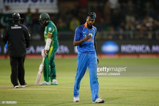 India's bowler Hardik Pandya prepares to deliver a ball during the fifth one day international cricket match between South Africa and India at St...