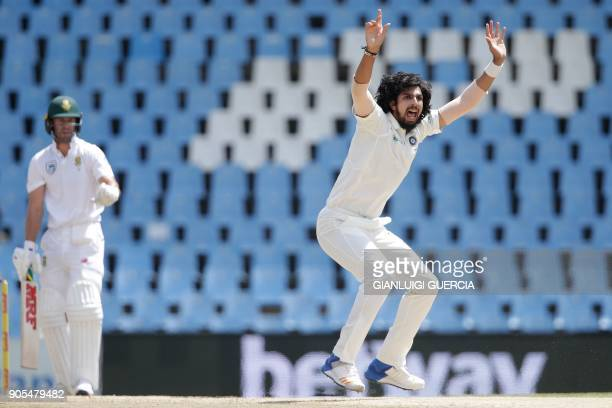 India's bowler Ishant Sharma unsuccessfully appeals for the wicket of South Africa's batsman AB de Villiers during the fourth day of the second Test...