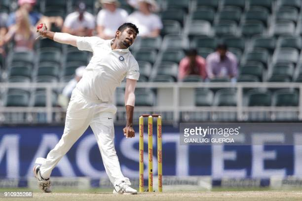 India's bowler Jasprit Bumrah delivers the ball during the fourth day of the third cricket test match between South Africa and India at Wanderers...