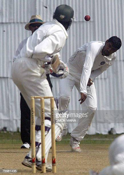 India's bowler Pankaj Singh makes a delivery against Kenya's batsman Collins Obuya 06 August 2007 during their threeday match at Mombasa's Sports...