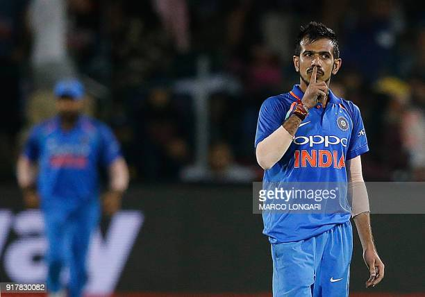 India's bowler Yuzvendra Chahal celebrates after dismissing South Africa's batsman David Miller during the fifth one day international cricket match...
