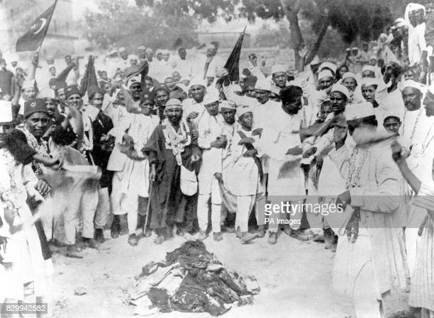 India's boycott of British cloth Followers of Gandhi burn goods from Bradford and Manchester Seventeen years later Mahatma Gandhi the man who had...