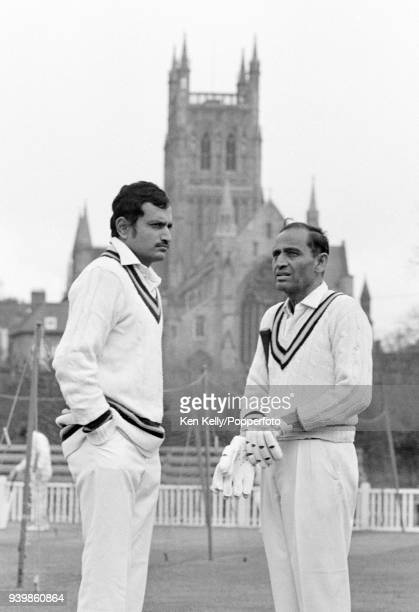 India's captain Ajit Wadekar stands with team manager Hemu Adhikari during a nets session before the tour match between Worcestershire and India at...