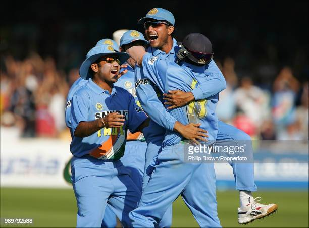 India's captain Sourav Ganguly celebrates with teammate Mohammad Kaif after the runout of England's Paul Collingwood during the 3rd Natwest Challenge...