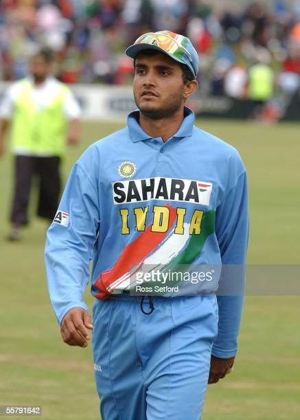 India's captain Sourav Ganguly leaves the field after his team were beaten by the New Zealand Black Caps by seven wickets in the fourth one day...