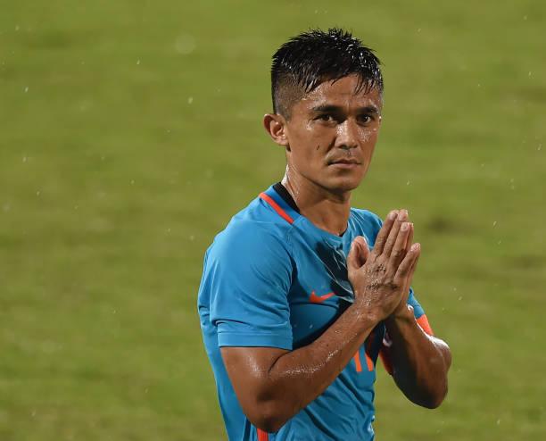 India's captain Sunil Chhetri (C) greets his team's