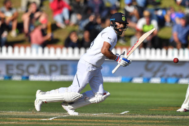 India's captain Virat Kohli plays a shot during day three of the first Test cricket match between New Zealand and India at the Basin Reserve in...