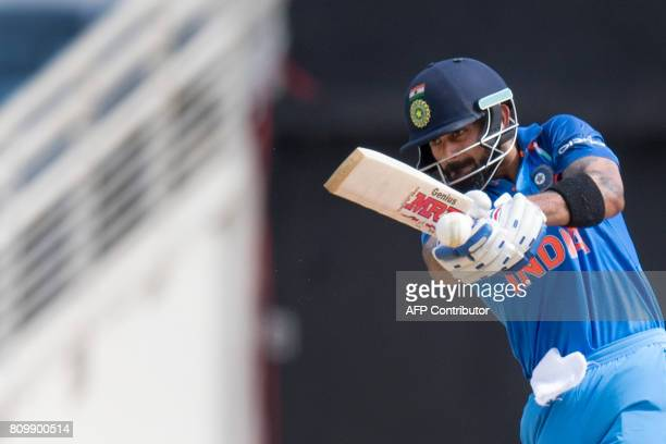 India's Captain Virat Kohli plays a shot during the fifth One Day International match between West Indies and India at the Sabina Park Cricket Ground...