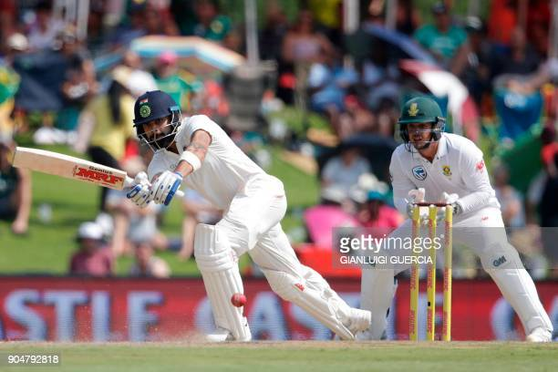 India's captain Virat Kohli plays a shot during the second day of the second Test cricket match between South Africa and India at Supersport cricket...
