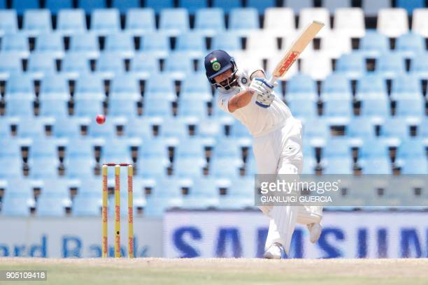 India's captain Virat Kohli plays a shot during the third day of the second Test cricket match between South Africa and India at Supersport cricket...