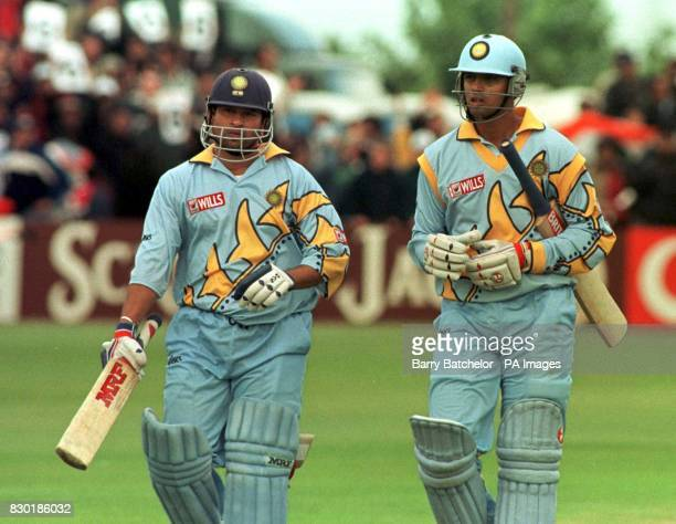 India's century makers Sachin Tendulkar and Rahul Dravid at the end of the innings that produced 329 runs against Kenya in the Cricket World Cup 1999...