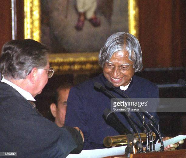 India's Chief Justice BN Kirpal swears in newlyelected President A P J Abdul Kalam July 25 2002 in New Delhi India Kalam a 71yearold prominent Muslim...