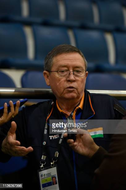 India's chief pistol coach Pavel Smirnov talks to reporters after a practice session during ISSF Rifle and Pistol World Cup at Dr Karni Singh...