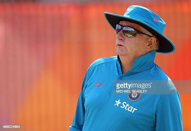 India's coach Duncan Fletcher watches his team during a training session ahead of their 2015 Cricket World Cup Group B match against Zimbabwe in...