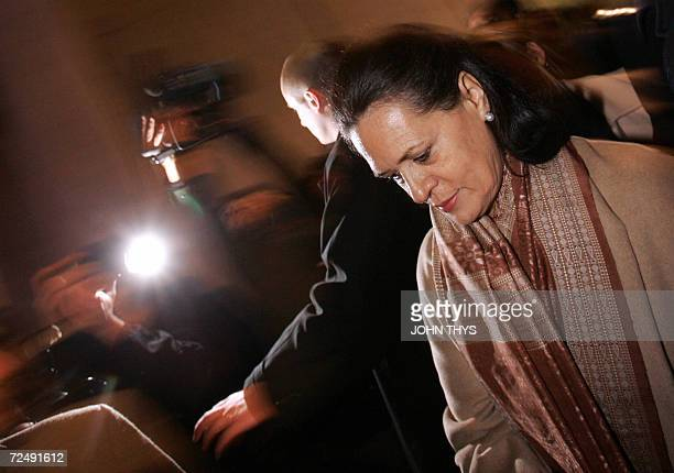 India's Congress party leader Sonia Gandhi pays a tribute to the known and unknown Indian Soldiers killed during WWI during a ceremony at the...
