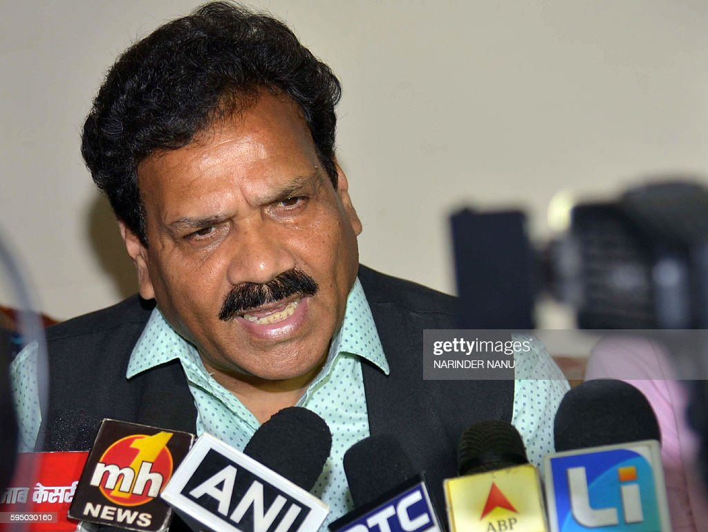 India`s Congress Party official and National Commission for Scheduled Castes vicechairman Raj Kumar Verka addresses media representatives during a...