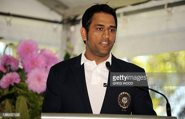 India's cricket captain Mahendra Singh Dhoni speaks during an afternoon tea put on by Australian Prime Minister Julia Gillard and her partner Tim...