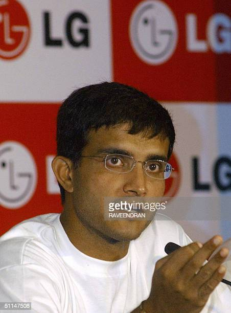 India's cricket captain Sourav Ganguly addresses a press conference for The ICC Champions Trophy 2004 in New Delhi 06 August 2004 The trophy is on an...