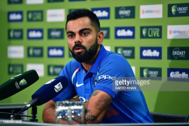 India's cricket team captain Virat Kohli speaks during a press conference ahead of the first One Day International match between India and Australia...