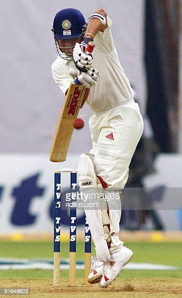 India's cricketer Sachin Tendulkar on 2 runs blocks a rising ball late in the day before the close of play at the Wankhede Stadium Bombay 03 November...