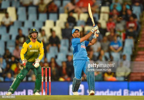 India's MS Dhoni bats during the second T20I cricket match between South Africa and India at Super Sport Park Stadium in Pretoria on February 21 2018...