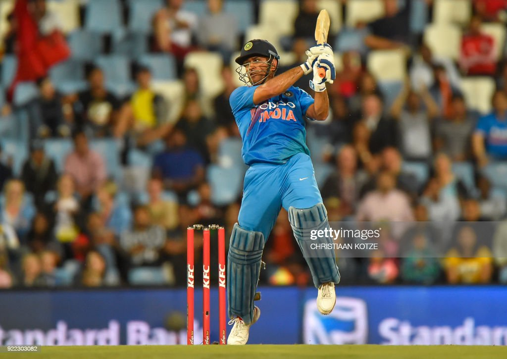 India's Dhoni bats during the second T20I cricket match between South Africa and India at Super Sport Park Stadium in Pretoria on February 21, 2018. / AFP PHOTO / Christiaan Kotze