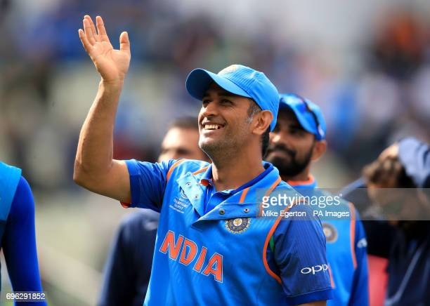 India's MS Dhoni celebrates after the ICC Champions Trophy semifinal match at Edgbaston Birmingham