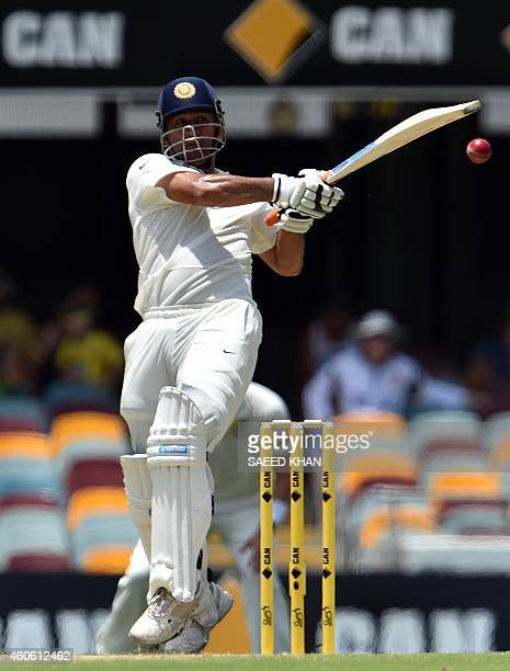 India's MS Dhoni plays a shot on the second day of the 2nd Test match between Australia and India at The Gabba in Brisbane on December 18 2014 USE