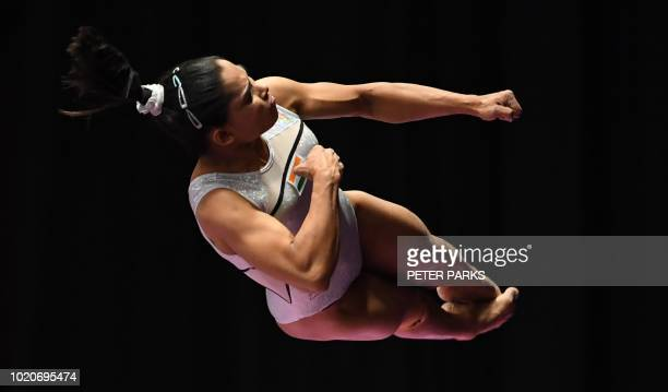 TOPSHOT India's Dipa Karmakar participates on the vault in the women's qualification one of the artistic gymnastics event during the 2018 Asian Games...