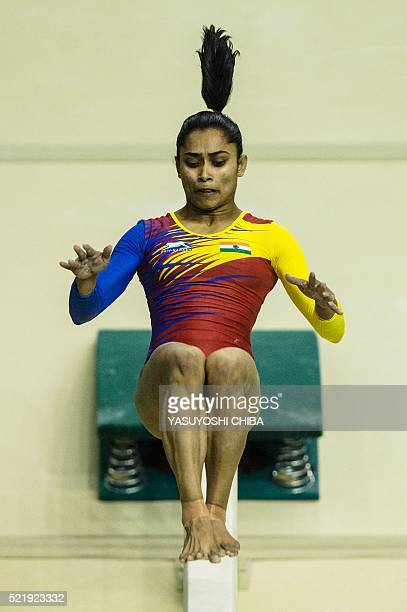 India's Dipa Karmakar performs at the balance beam during the artistic gymnastics test event for the Rio 2016 Olympic Games at the Rio Olympic Arena...