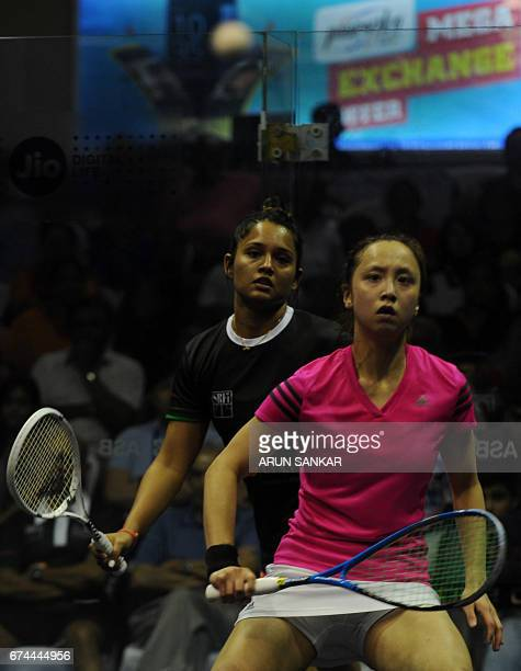 India's Dipika Pallikal in action against Hong Kong's Liu Tsz Ling during their women's quarterfinal match at 19th Asian Squash Championship in...