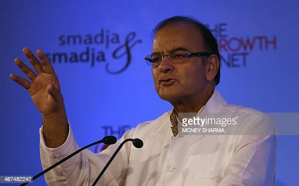 India's Finance Minister Arun Jaitley gestures as he speaks during the third annual Growth Net summit in New Delhi on March 25 2015 The Growth Net...
