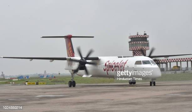 India's first biojet fuel aircraft operated by SpiceJet lands at Indira Gandhi International Airport on August 27 2018 in New Delhi India