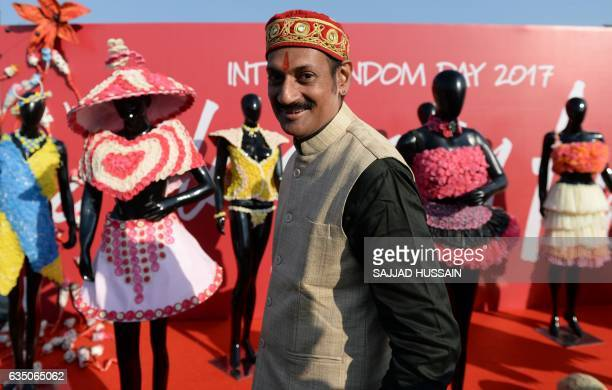 India's first openly gay prince Manvinder Singh is pictured during an event to mark International Condom Day in New Delhi on February 13 2017 The...