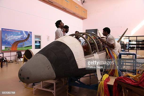 India's first reusable Launch Vehicle or 'Space Shuttle' sits in a laboratory at Vikram Sarabhai Space Center on March 30 2016 in Thiruvananthapuram...