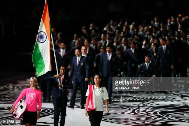 India's flagbearer Pusarla Venkata Sindhu leads the delegation during the opening ceremony of the 2018 Gold Coast Commonwealth Games at the Carrara...