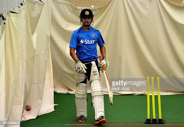 India's Gautam Gambhir bats in the indoor nets during a rain affected second day of the cricket Tour Match between Leicestershire and India at Grace...
