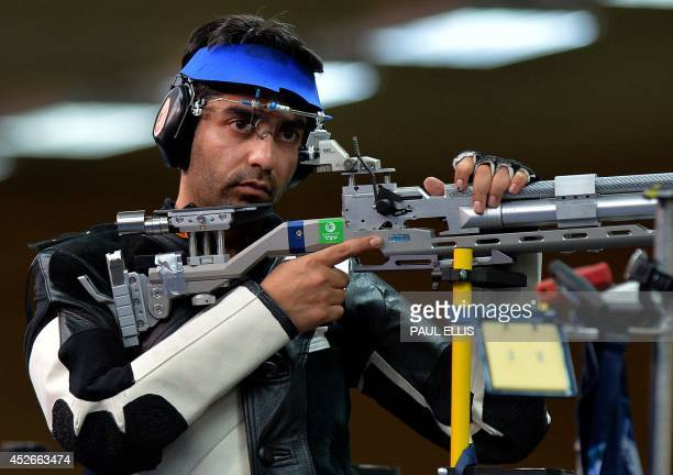 India's gold medalist Abhinav Bindra competing in the men's 10m Air Rifle final at the Barry Buddon Shooting Centre in Carnoustie Scotland on July 25...