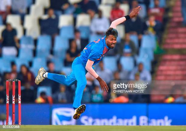 India's Hardik Pandya bowls during the second T20I cricket match between South Africa and India at Super Sport Park Stadium in Pretoria on February...