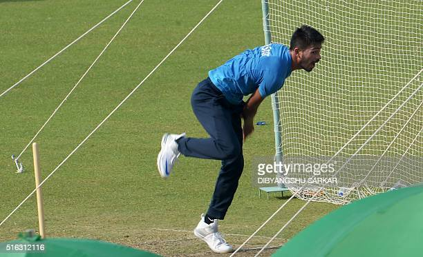 India's Hardik Pandya bowls in the nets during a training session at The Eden Gardens Cricket Stadium in Kolkata on March 18 2016 India will play...